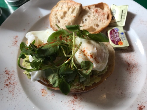 Avocado Toast with Poached Eggs at Patisserie Valerie